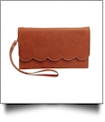 The Coral Palms� Scarlett Scalloped Wristlet Wallet - SADDLE BROWN