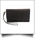 The Coral Palms® Scarlett Scalloped Wristlet Wallet - RAVEN BLACK
