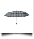 "Plaid Compact Foldable Umbrella with 34"" Diameter - BROWN"