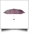 "Plaid Compact Foldable Umbrella with 34"" Diameter - BURGUNDY"