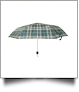 "Plaid Compact Foldable Umbrella with 34"" Diameter - GREEN"