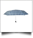 "Plaid Compact Foldable Umbrella with 34"" Diameter - LIGHT NAVY"