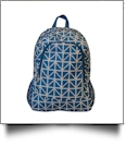 Blue Triangles Print Backpack Embroidery Blanks - BLUE TRIM - CLOSEOUT