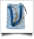 Japanese Waves Print Lunch Tote/Beverage Cooler Bag Embroidery Blanks - TEAL TRIM - CLOSEOUT