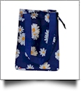 Daisy Flower Print Lunch Tote/Beverage Cooler Bag Embroidery Blanks - BLUE TRIM