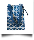 Blue Triangles Print Lunch Tote/Beverage Cooler Bag Embroidery Blanks - BLUE TRIM - CLOSEOUT