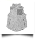 The Coral Palms Suede Patch Micro Sherpa Vest - GRAY