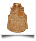 The Coral Palms Suede Patch Micro Sherpa Vest - MOCHA