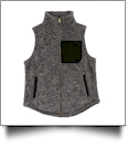 The Coral Palms Suede Patch Micro Sherpa Vest - BLACK