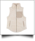 The Coral Palms Suede Patch Micro Sherpa Vest - IVORY