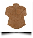 The Coral Palms Suede Patch Micro Sherpa Quarter-Zip Sherpa Pullover - MOCHA - CLOSEOUT