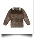 The Coral Palms Frosted Sherpa Quarter-Zip Pocket Pullover - BROWN - CLOSEOUT
