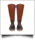 The Coral Palms® Ladies Lace Back Tall Duck Boots - BROWN - CLOSEOUT
