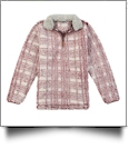 The Coral Palms Frosted Plaid Sherpa Quarter-Zip Pocket Pullover - WINE - CLOSEOUT