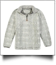 The Coral Palms Frosted Plaid Sherpa Quarter-Zip Pocket Pullover - MOSS - CLOSEOUT