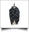 Designer-Style Oversized Plaid Scarf - BLACK