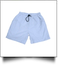 The Coral Palms® Mens Seersucker Swimming Trunks - BLUE CLOSEOUT