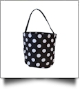 Monogrammable Easter Basket & Halloween Bucket Tote - BLACK POLKA DOT