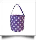 Monogrammable Easter Basket & Halloween Bucket Tote - PURPLE POLKA DOT
