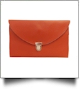 Leatherette Envelope Clutch Purse Embroidery Blank With Detachable Gold Shoulder Chain - BURNT ORANGE