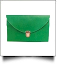 Leatherette Envelope Clutch Purse Embroidery Blank With Detachable Gold Shoulder Chain - SHAMROCK