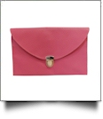 Leatherette Envelope Clutch Purse Embroidery Blank With Detachable Gold Shoulder Chain - ROSE PINK
