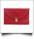 Leatherette Envelope Clutch Purse Embroidery Blank With Detachable Gold Shoulder Chain - CHERRY RED