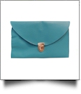 Leatherette Envelope Clutch Purse Embroidery Blank With Detachable Gold Shoulder Chain - TROPICAL BLUE