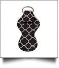 Quatrefoil Print Neoprene Chapstick Holder - BLACK