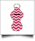 Chevron Print Neoprene Chapstick Holder - HOT PINK
