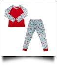 The Coral Palms Ultra-Soft Adults 3/4 Raglan Sleeve Santa Christmas Pajamas
