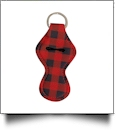 Buffalo Plaid Print Neoprene Chapstick Holder - RED