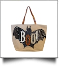 Jumbo Halloween Tote with 2 Color Sequins - BOO BAT - CLOSEOUT IRREGULAR