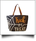 Jumbo Halloween Tote with 2 Color Sequins - TRICK OR TREAT - CLOSEOUT IRREGULAR