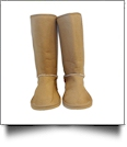 Women's Faux Suede Micro Sherpa Lining Boots - TAN - SPECIAL PURCHASE