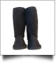 Women's Faux Suede Micro Sherpa Lining Boots - BLACK - SPECIAL PURCHASE
