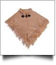 Toddler Fringe Wrap-Around Toggle Poncho Scarf - CAMEL