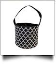 Monogrammable Easter Basket & Halloween Bucket Tote - BLACK QUATREFOIL - CLOSEOUT