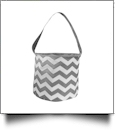 Monogrammable Easter Basket & Halloween Bucket Tote - GRAY CHEVRON - CLOSEOUT