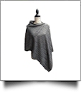 Cable Knit Button Poncho - GRAY