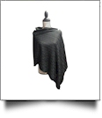 Cable Knit Button Poncho - BLACK