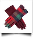 Designer-Look Touchscreen Gloves - RED/GREEN PLAID