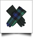 Designer-Look Touchscreen Gloves - BLUE/GREEN PLAID
