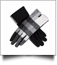 Designer-Look Touchscreen Gloves - WHITE/BLACK PLAID