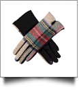 Designer-Look Touchscreen Gloves - CAMEL PLAID - CLOSEOUT