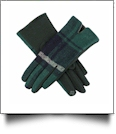 Designer-Look Touchscreen Gloves - NAVY/GREEN PLAID - CLOSEOUT