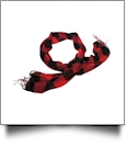Buffalo Plaid Cozy Fringed Scarf Embroidery Blanks - RED