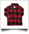The Coral Palms Buffalo Plaid Sherpa Quarter-Zip Sherpa Pullover - CLOSEOUT