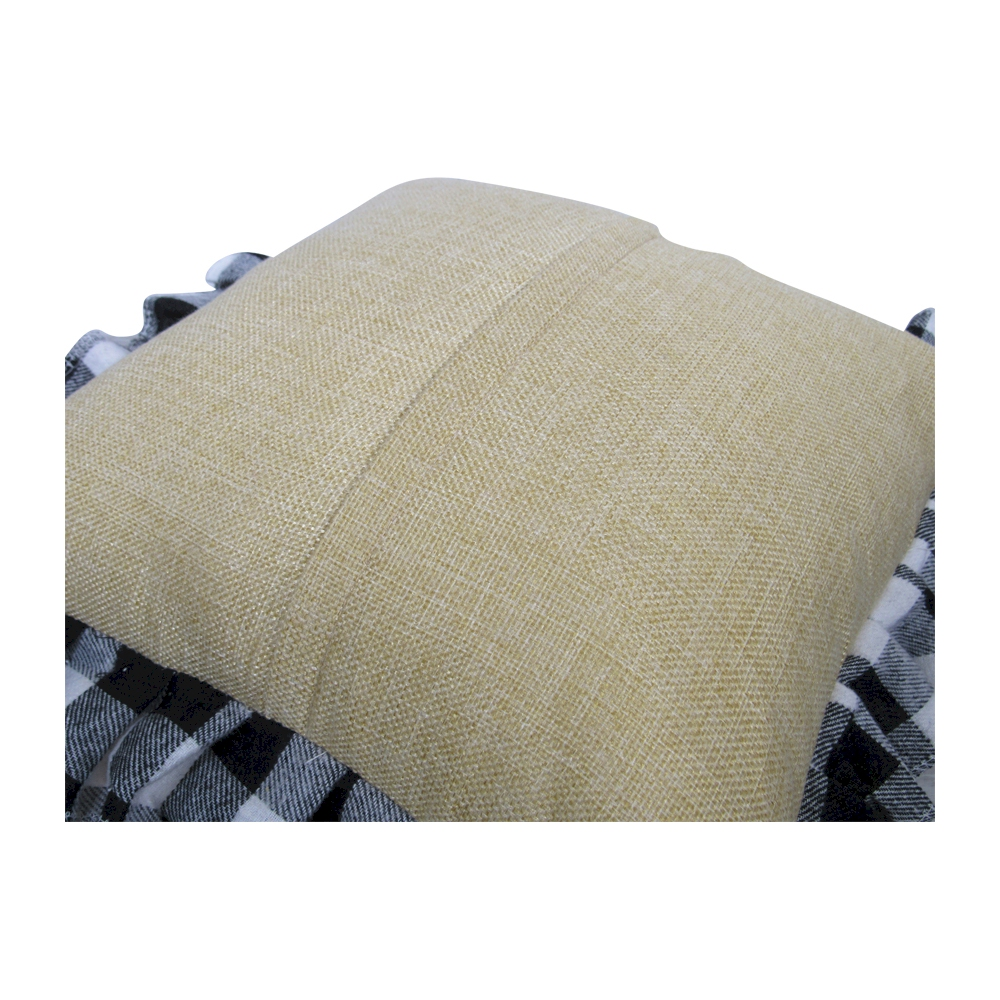 14 Quot Jute Farmhouse Throw Pillow Cover With Buffalo Plaid