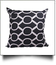 Throw Pillow Cover in Oval Lattice Print - BLACK - CLOSEOUT